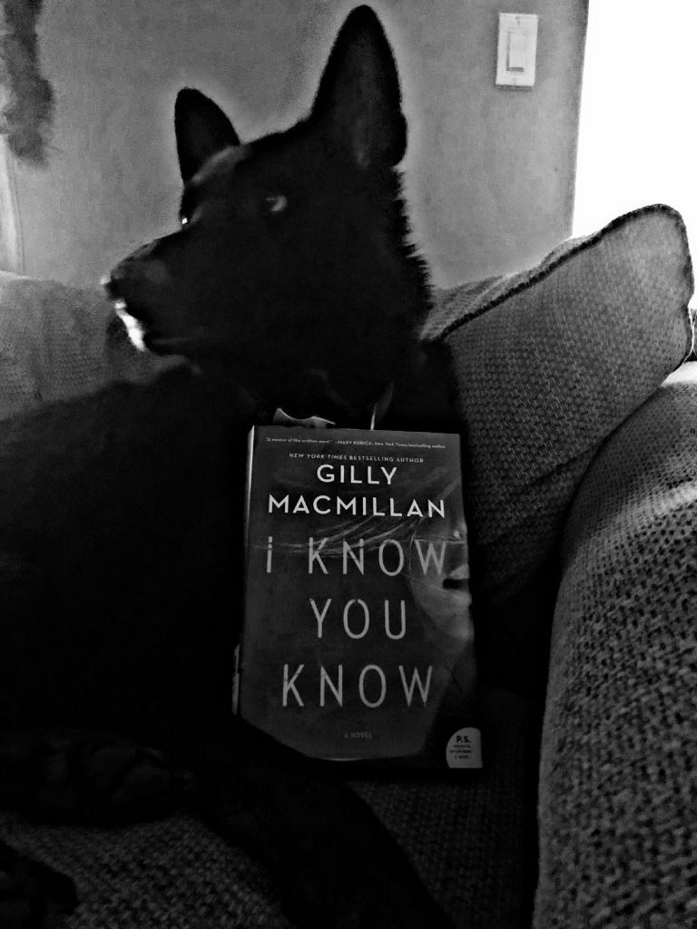 Novel I Know You Know Propped up against a black German Shepherd